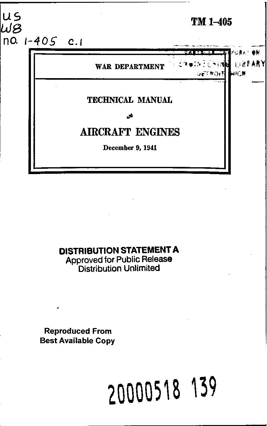 United States. War Department - TM 1-405 Aircraft Engines 1941